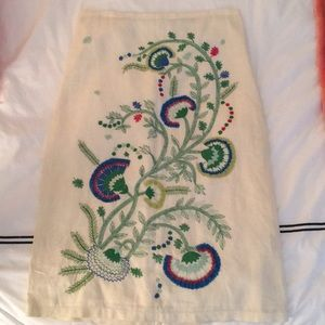 Embroidered and beaded linen skirt